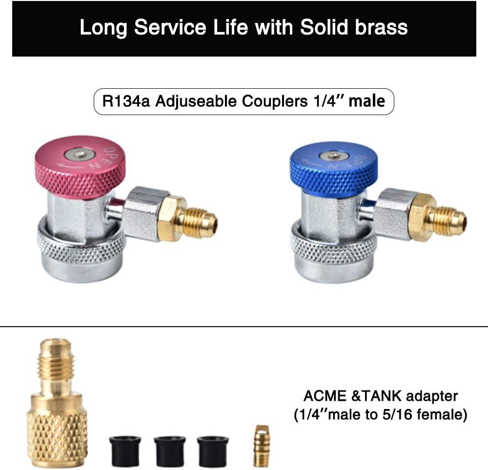 Accesorios SAE de 1//4 KKTECT Juego de man/ómetros de diagn/óstico de Aire Acondicionado Herramientas de Aire Acondicionado refrigerante 4 pies con Estuche