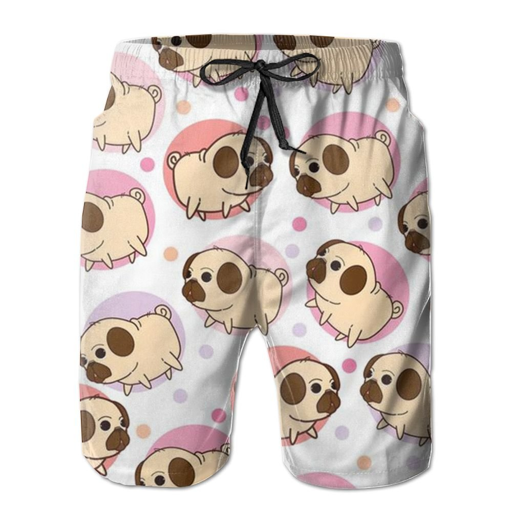 Love Dog Mens Beach Board Shorts Quick Dry Summer Casual Swimming Soft Fabric with Pocket