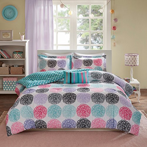 CA 4 Piece Multi Color Comforter Set Full Queen, Pink Teal Red Purple White Doodled Circles Dot Printed Reversible Polka Dot Kids Bedding Teen Bedroom Casual Contemporary Modern, Microfiber Polyester durable service
