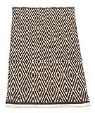 Chardin home 100% cotton Diamond Rug Fully reversible - Mat size 21''x34'', Machine washable, Brown & White