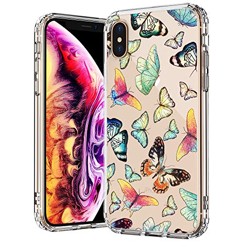- MOSNOVO Fashion iPhone Xs MAX Case, Butterfly Pattern Printed Clear Design Transparent Plastic Back Case with TPU Bumper Protective Case Cover for iPhone Xs MAX