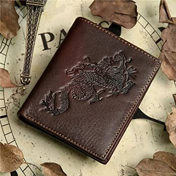 ! Vintage Cow Leather Wallets for Men Purse Case Card Holder Coach Wallet 8012-2c