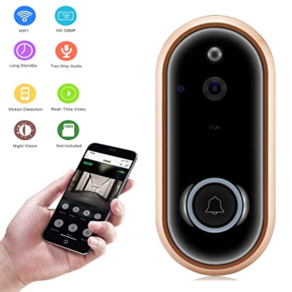 Video Doorbell, Teepao WiFi Smart Wireless Digital Video Doorbell 1080P HD  Security Camera Real-Time Video Two-Way Audio Night Vision PIR Motion
