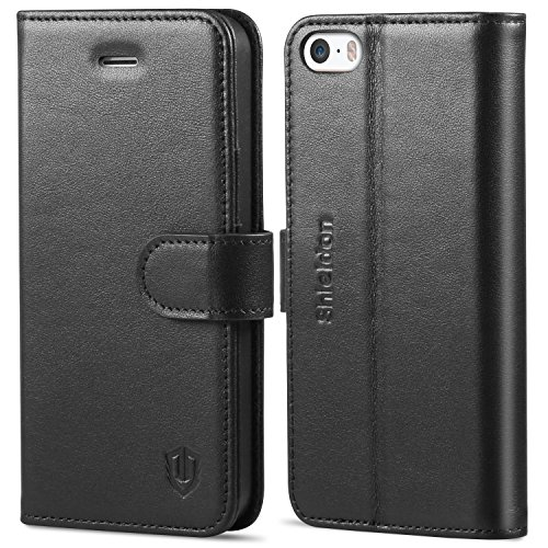 iPhone SE Case, iPhone 5S Case, SHIELDON Genuine Leather Wallet Case for iPhone 5 / 5S / iPhone SE, Folio Flip Case Cover with Kickstand & Credit Card Slots [Magnetic Clasp], Black