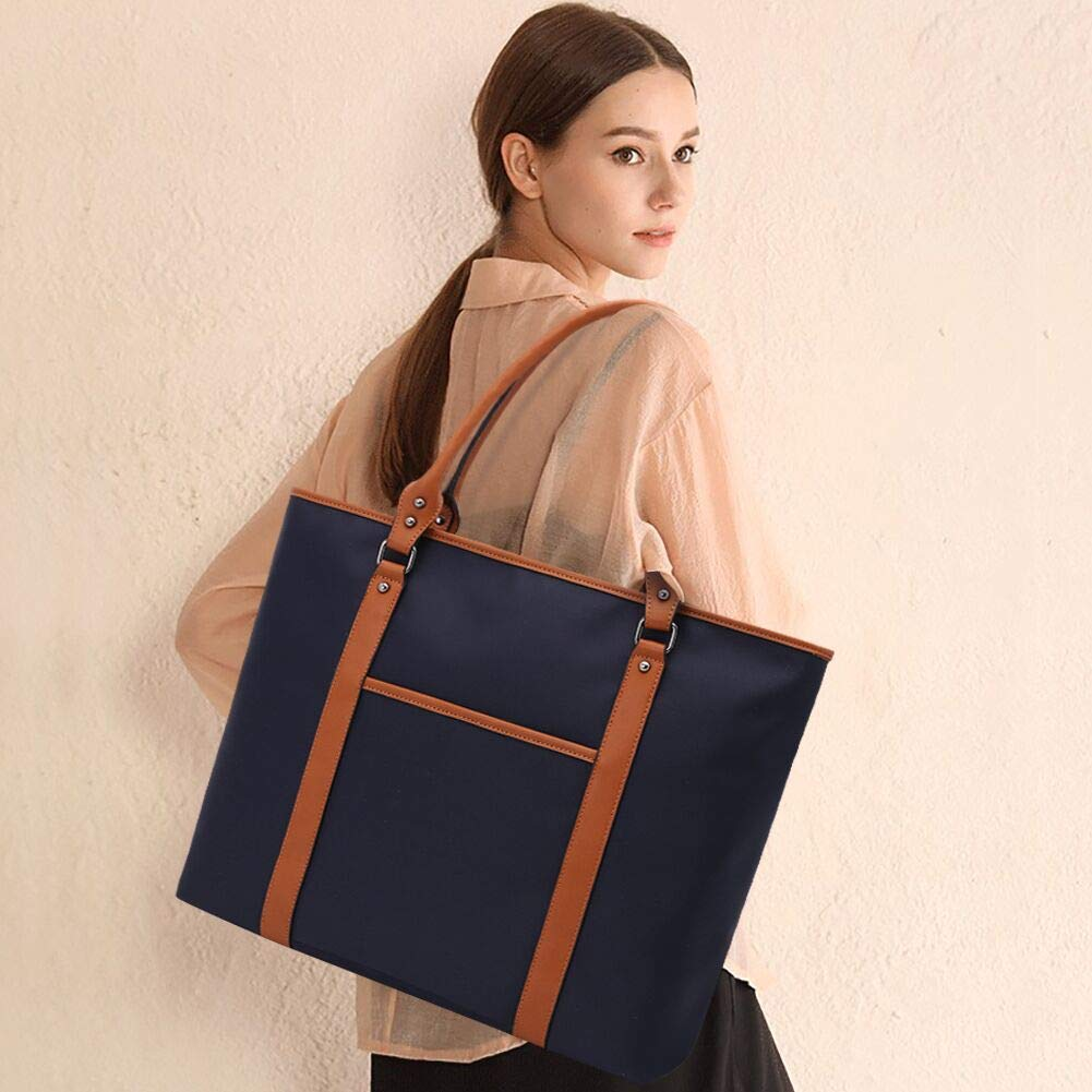 Laptop Bag for Women Lightweight Nylon Work Tote Bags Business School Computer Shoulder Bag Large Capacity Briefcase Accommodate 15-15.6 Inch Laptop,Navy by ZYSUN (Image #2)