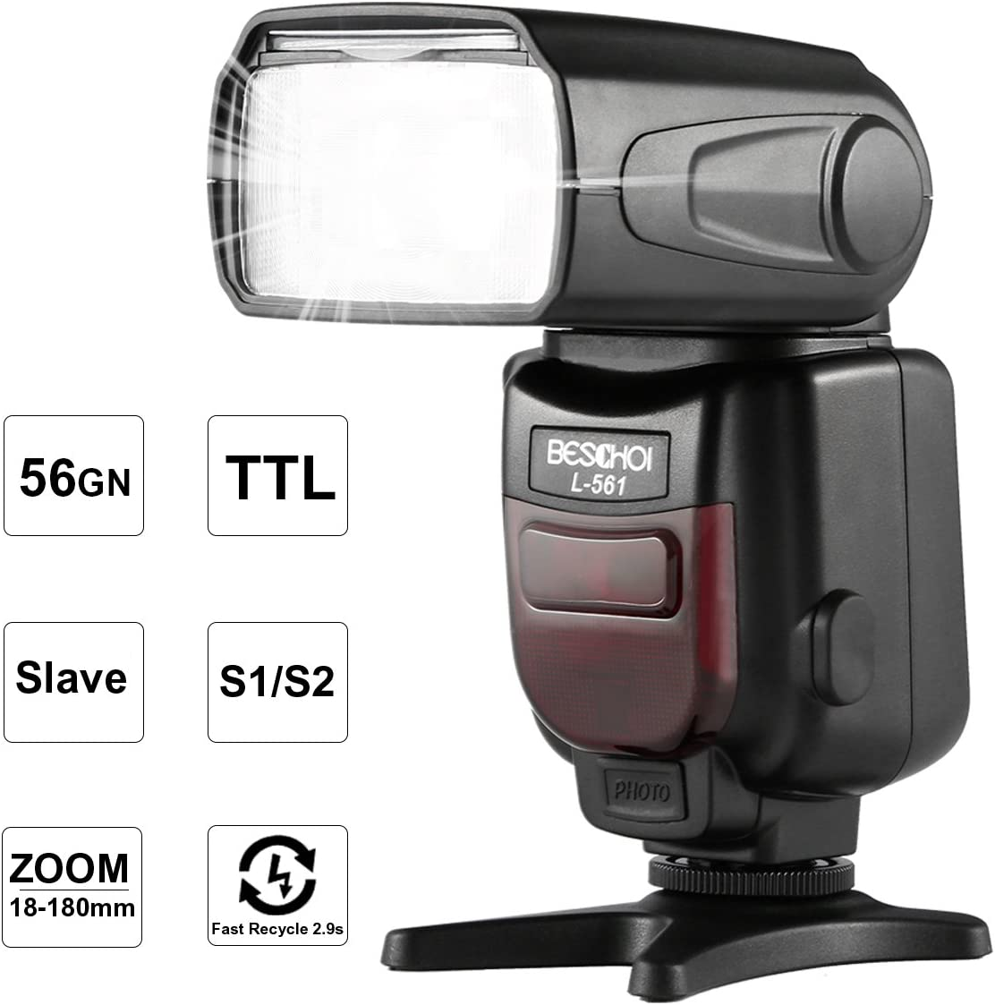 Beschoi i-TTL Flash Speedlite L561 con Pantalla LCD, Esclavo Inalámbrico, GN56 para Cámara Réflex Nikon DSLR