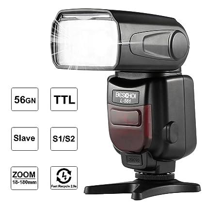 Beschoi i-TTL Flash Speedlite L561 con Pantalla LCD, Esclavo ...