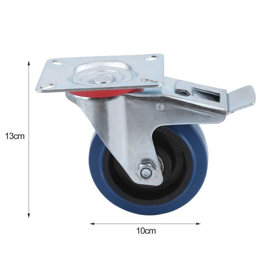 Homgrace Roulettes fixes Roulettes pivotantes avec frein en caoutchouc 100mm capacit/é 100 kg 100mm 125mm