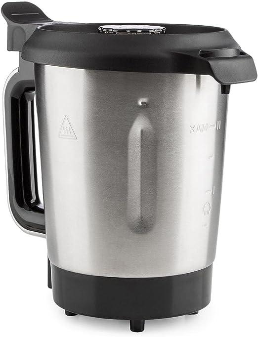 KLARSTEIN Foodcircus Jarra de Mezcla (Recipiente de Repuesto, Capacidad de 2 litros, Acero Inoxidable, Accesorio Robot de Cocina) - Mango Blanco: Amazon.es