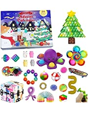 QASIMOF Fidget Adventskalender 2021 Kerstmis Countdown kalender 24 dagen goedkoop Pop Bubble Sensory Fidget Toys Set nieuwe decoraties (Popset 1)
