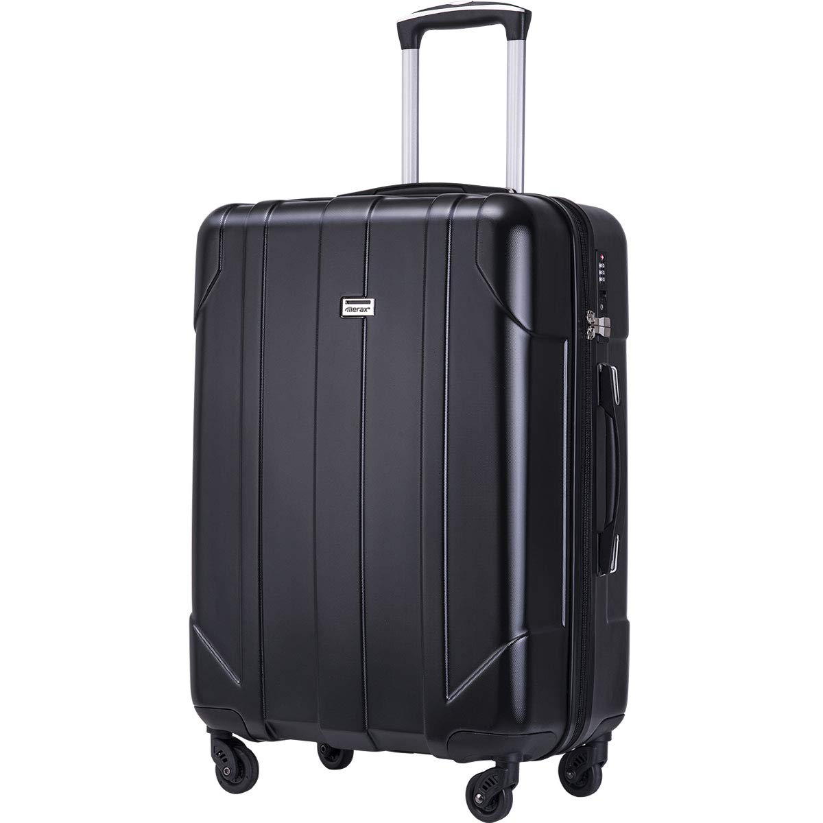 Merax Hardside Spinner Luggage with Built-in TSA Lock Lightweight Suitcase 20inch 24inch and 28 inch Available (Black, 24-Checking in)