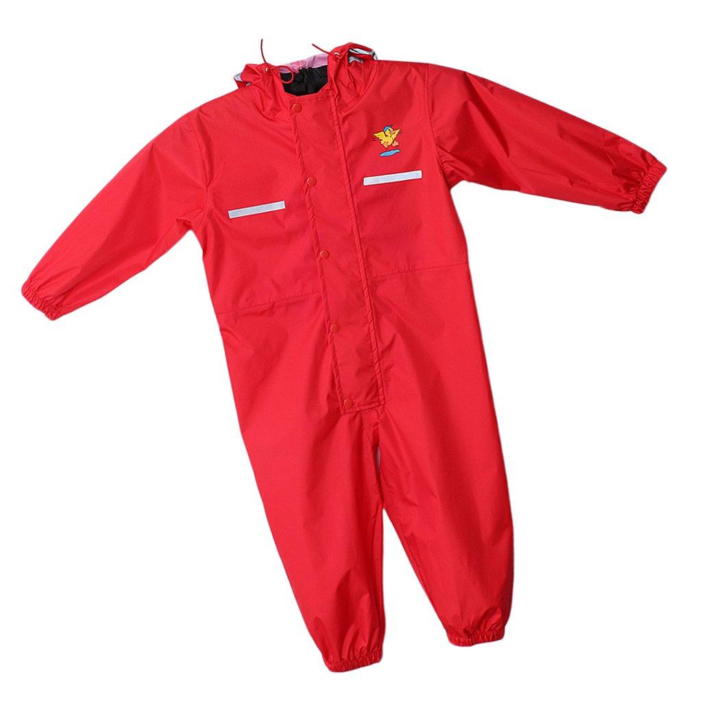 Prettyia Colourful Kids Raincoat Reusable Rainwear Elastic Adjustable Cuffs Rain Poncho - Red, XL by Prettyia