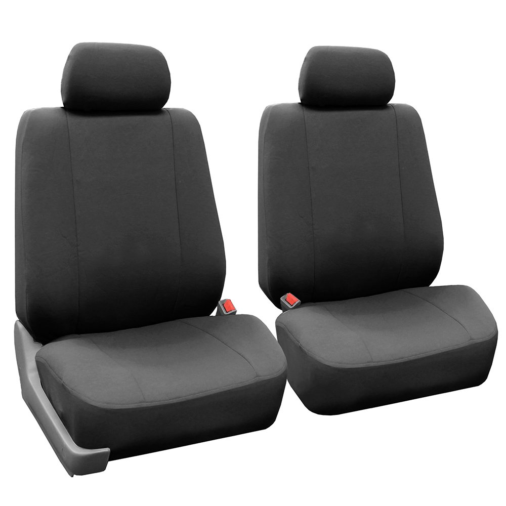 FH Group FB052CHARCOAL102 Charcoal Front Flat Cloth Bucket Seat Cover, Set of 2 (Multifunctional Airbag Compatible) by FH Group