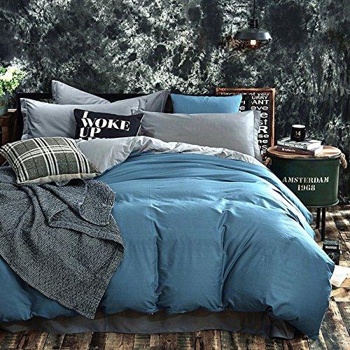 Lake Blue 3 Pieces Bedding Set Queen Size 100% Cotton Duvet Cover , 1 Duvet Cover + 2 Pillow Shams