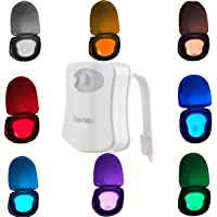 LED Toilet Night Light, Oenbopo Colorful Motion Sensor Toilet Light Bathroom Human Body Auto Motion Activated Sensor Led Toilet Seat Light Night Lamp 8-Color Changeing (Only Activates in Darkness)