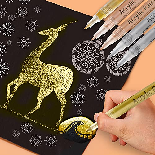 Paint Pens Gold Silver Rose, 6 Pack Acrylic Paint Markers Set for Rock Painting Wood Plastic Leather Glass Metal Canvas Ceramic DIY Crafts Making, 0.7mm Medium Tip Water-based Acrylic Markers Sets (3 colors)