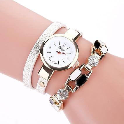 Relojes Pulsera Mujer ❤ Amlaiworld Reloj niña Reloj de brazalete de diamantes de señoras Mesa de moda para estudiantes reloj mujer deportivo (Blanco): ...