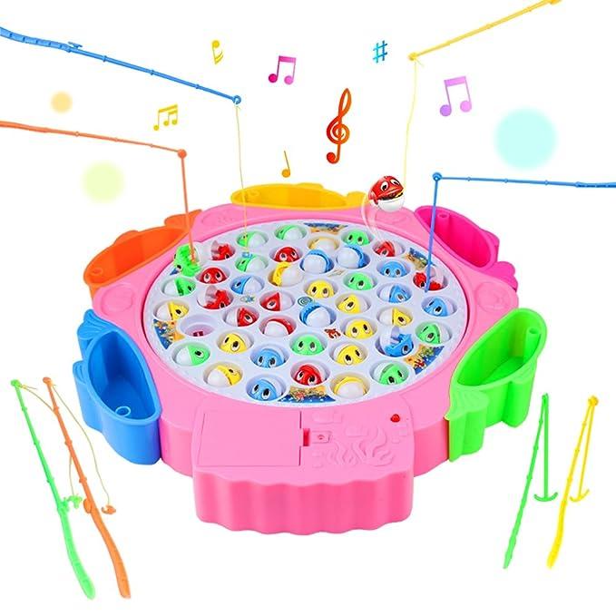 Angelspiel, Angeln Spielzeug Angeln Brettspiel mit 8 Angelruten 42 Fisch mit Musik für Kinder 3 Jahre (Farbe zufällige Liefer