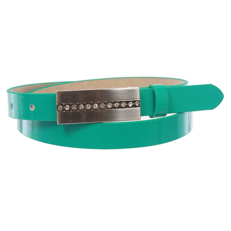 BBBelts Women 3//4 Taupe Faux Leather Snap On Nickel Finish Zircon Buckle Belt