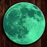 On D Wall 30cm Glow in The Dark Moon Night Light Luminous Wall Art Stickers Removable Adhesive Wall Decal for Kids Boy and Girl Bedroom
