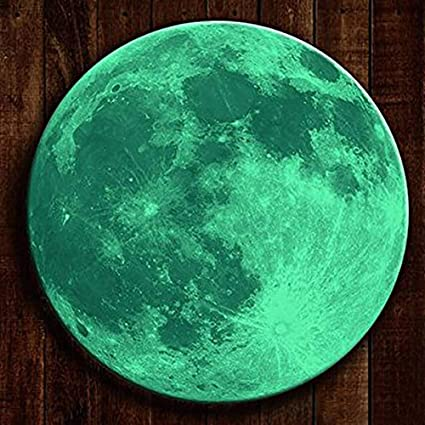 JAAMSO ROYALS 30 Cm Glow In The Dark Moon Night Light Wall Decal Art Stickers with Removable Adhesive for Kids Bedroom
