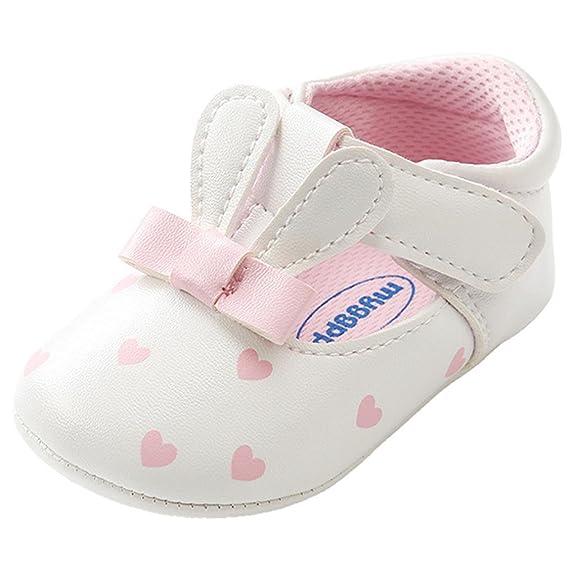 Zapatos Bebe Niña, Bebé Niña Orejas de Conejo Zapatos de Cuna Zapatos Primeros Pasos para niñas Recien NacidoPrewalker
