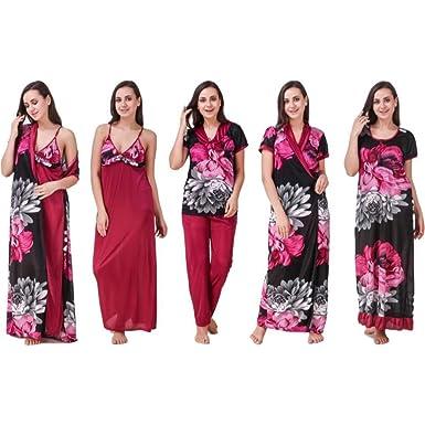 627a6508ed House Of Sensation Women's Satin Nightwear 1 Wrap Gown, 1 Full Nighty, 1  Night