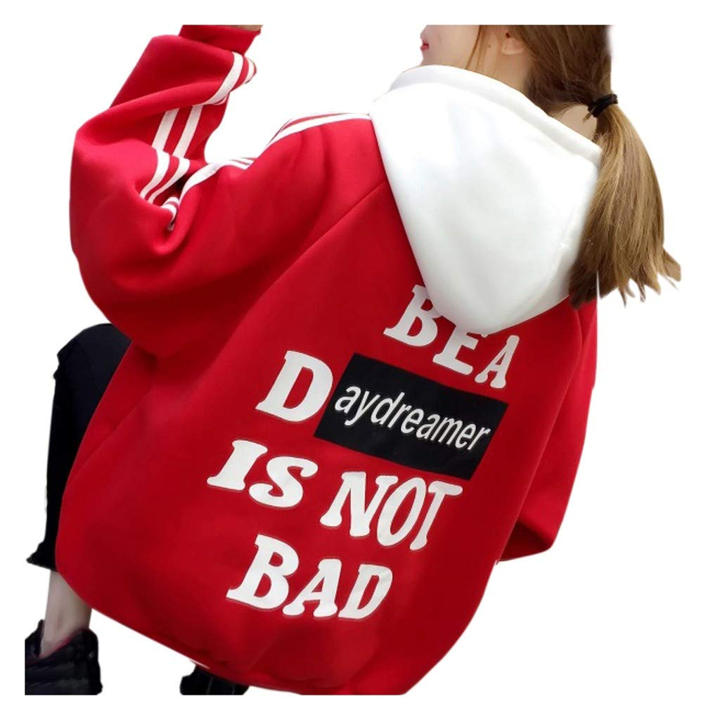 HebeTop Women Hoodies Funny Letter Print Long Sleeve Warm Pullover Red by ▶HebeTop◄➟HOT SALES