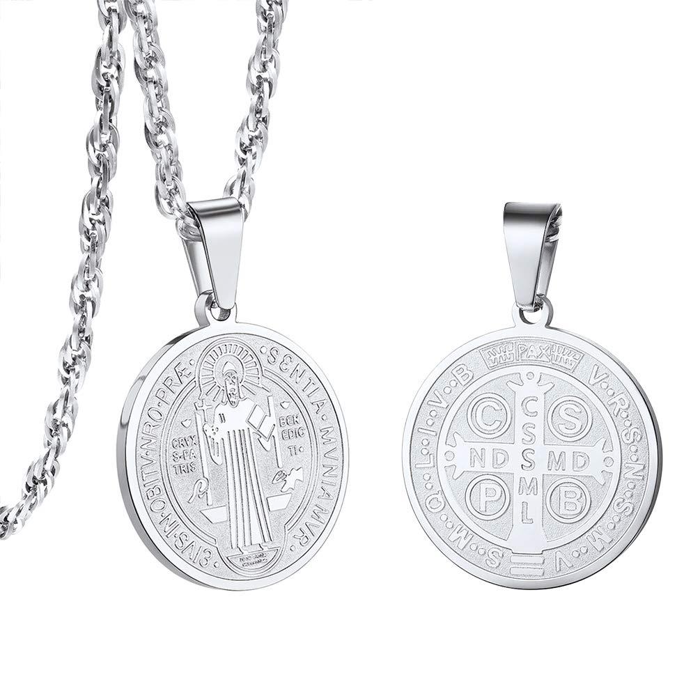 PROSTEEL Men/Women Saint St Benedict Nursia Patron Medal Cross Religious Pendant Necklaces with Chain (Send Gift Box, Velvet)