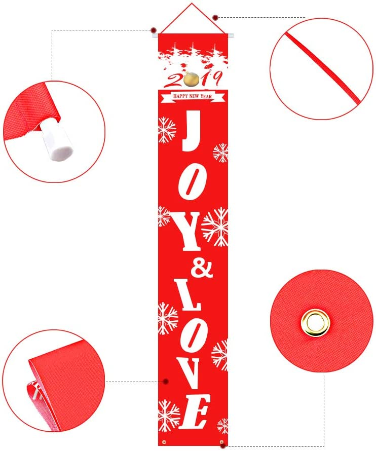 HOTON Christmas Porch Sign Red Hanging Banner Flag Welcome and Merry Christmas Banner for Home Indoor Outdoor Wall Holiday Party Decoration 12 x 71in Baby it/'s Cold//Let it Snow