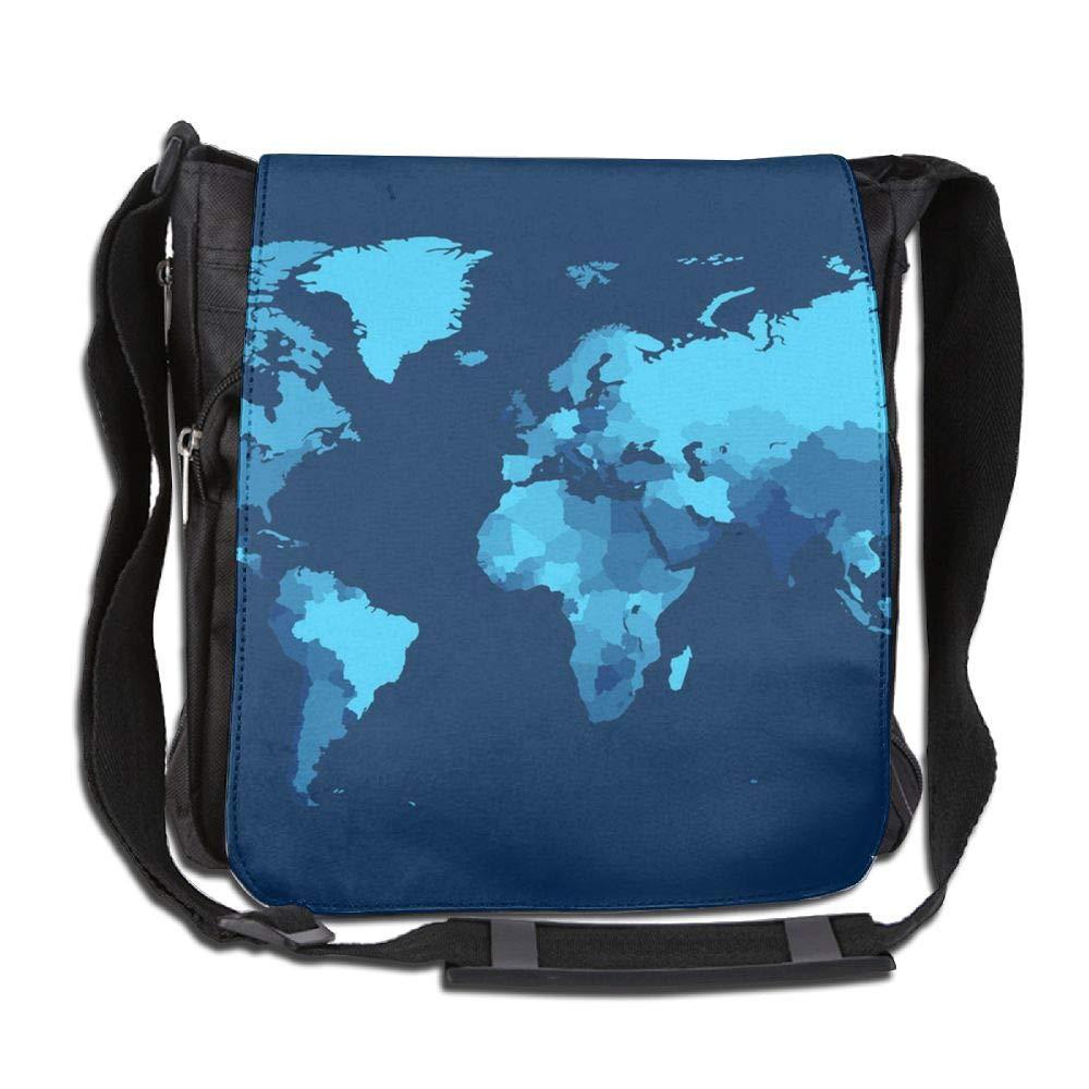 SARA NELL Messenger Bag,World Map,Unisex Shoulder Backpack Cross-body Sling Bag