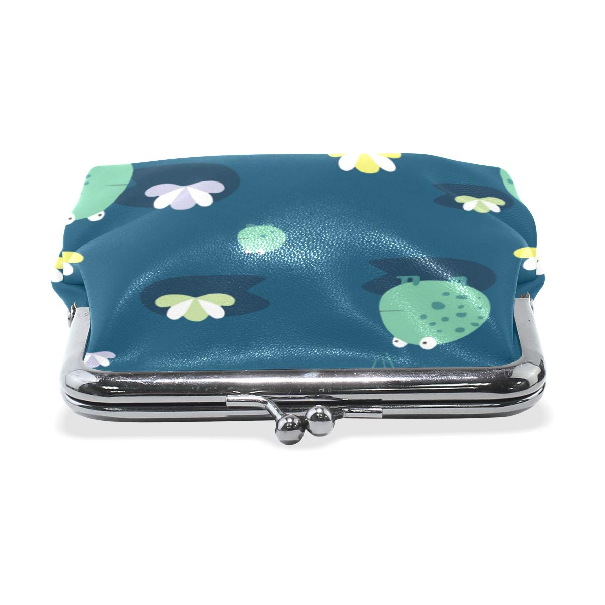 Kawaii Funny Green Frog Coin Purse Buckle Vintage PU Pouch Kiss-lock Wallet for Women Girl