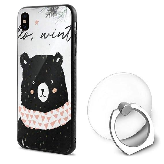 buy online f4474 c4162 Amazon.com: iPhone X Case Hello Winter Black Bear iPhone X Mobile ...