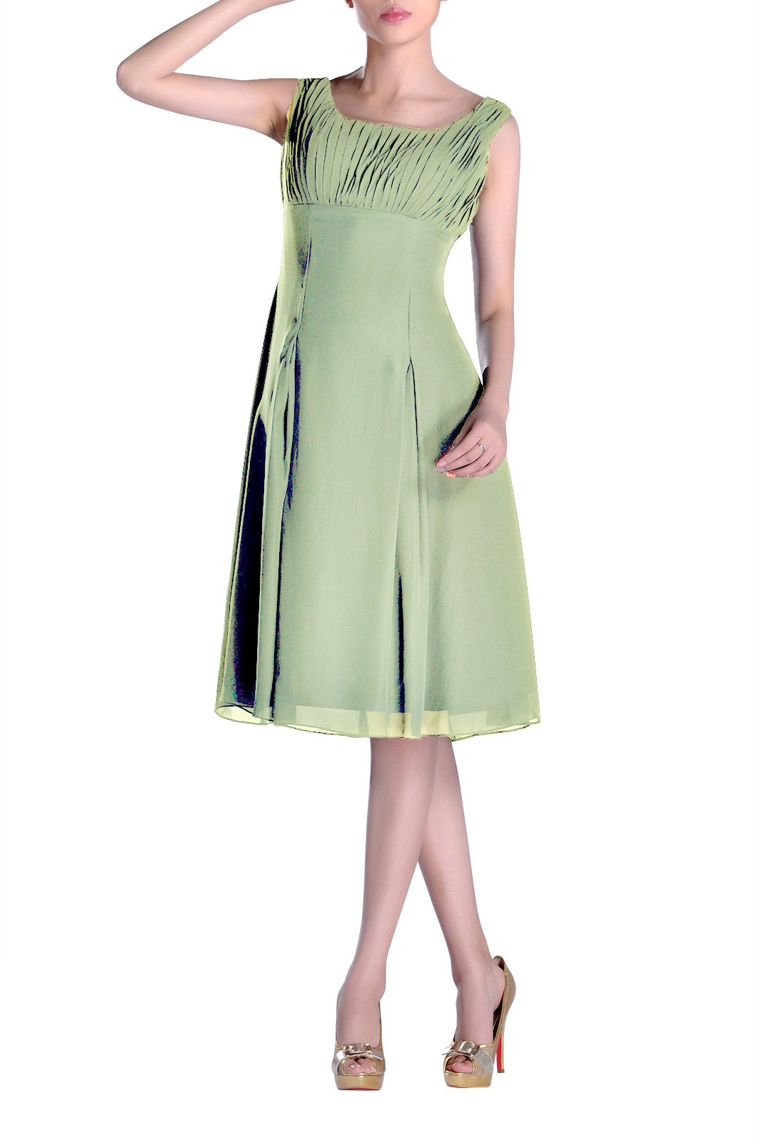 b8d972e07454f Bridesmaid Dress Knee Length Formal Pleated Mother of The Brides Special  Occasion, Color Sage,10