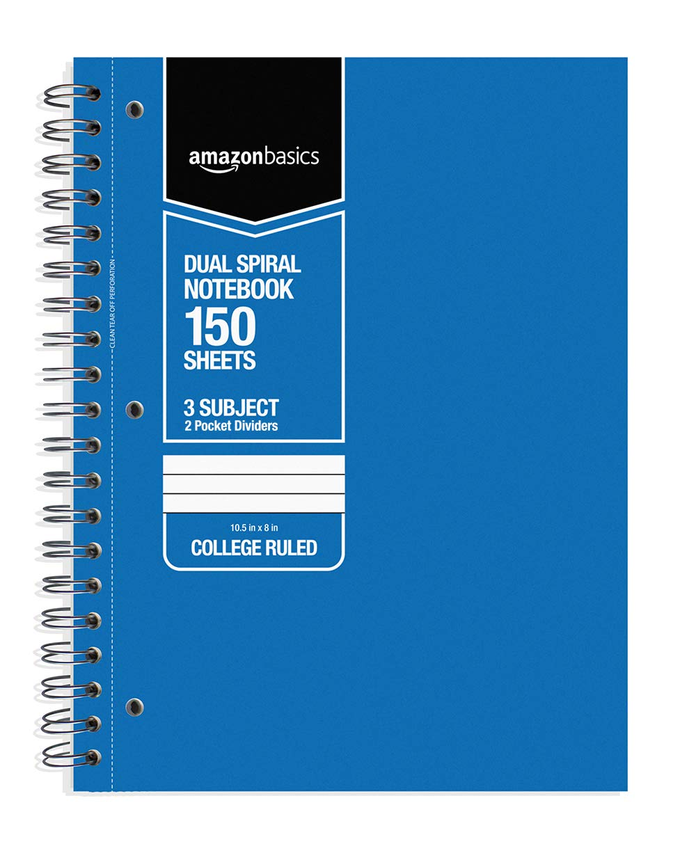 AmazonBasics College Ruled Wirebound 3-Subject 150-Sheet Notebook with Pocket Divider - Pack of 6, 10.5 x 8 Inch, Multi-Color