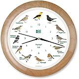 KOOKOO Singvogel radio controlled holz Die Singende Vogeluhr Singvogeluhr Wanduhr mit 12 heimischen Vogel echte Vogelstimmen Uhr mit Lichtsensor