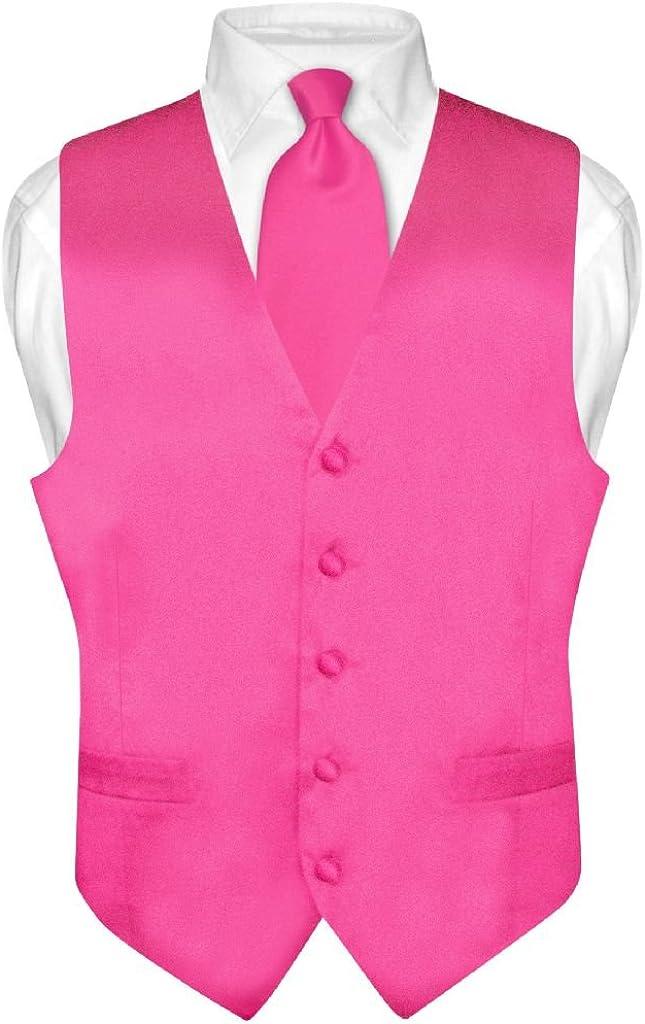Biagio Men's Silk Dress Vest & Necktie Solid HOT Pink Fuchsia Color Neck Tie Set