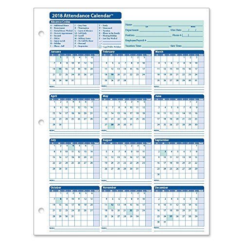 - ComplyRight 2018 Attendance Calendar Card, White, Pack of 50