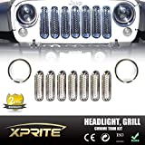 Xprite Chrome / Silver Front Grille Insert Kit & Bezel Cover For Headlight 2007 - 2017 Jeep Wrangler JK & JK Unlimited (9 Piece Set)