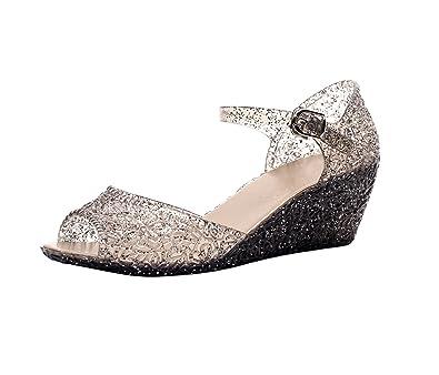 389b8cbe6274 Womens Summer Sandals Peep Toe Wedge Heels Glitter Beach Jelly Shoes ...