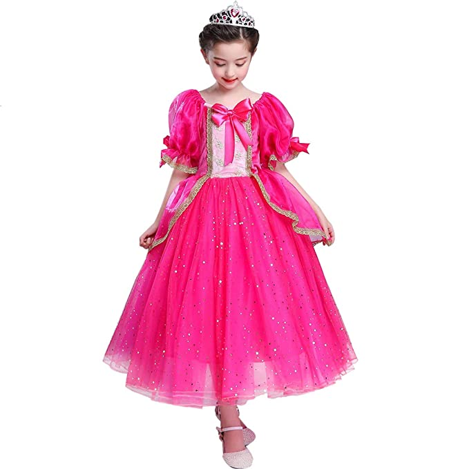 Christmas Carnival Theme Outfit.Girls Princess Aurora Costume Fancy Dress Up Cosplay Party Outfit Halloween Christmas Birthday Ceremony Floor Length Tulle Dresses Carnival Long Prom
