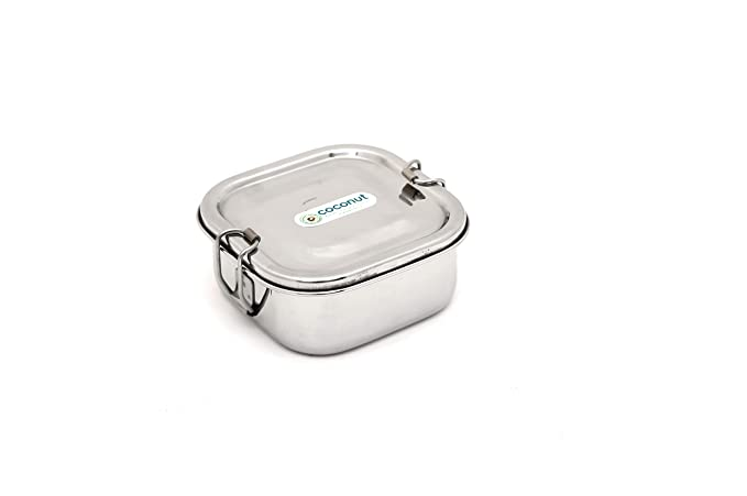 Coconut Stainless Steel Lunch Box 1 Container Square Shape Single  500 ml  Lunch Boxes
