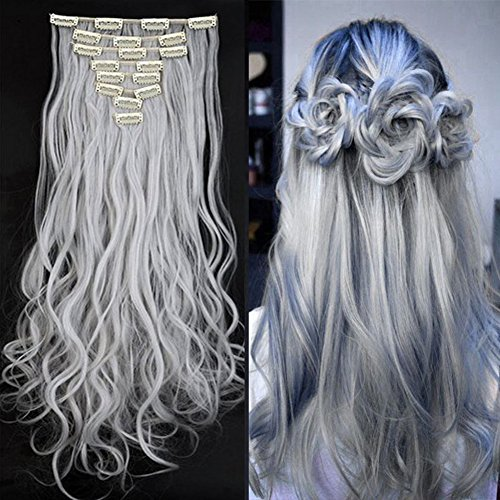 Synthetic Hair Extensions Clip on Japanese Kanekalon Fiber Hairpieces Full Head Thick Long Wavy Curly Soft Silky 8pcs 18clips for Women Girls Lady Fashion and Beauty 24'' / 24 inch (Silver Gray) by Beauti-gant
