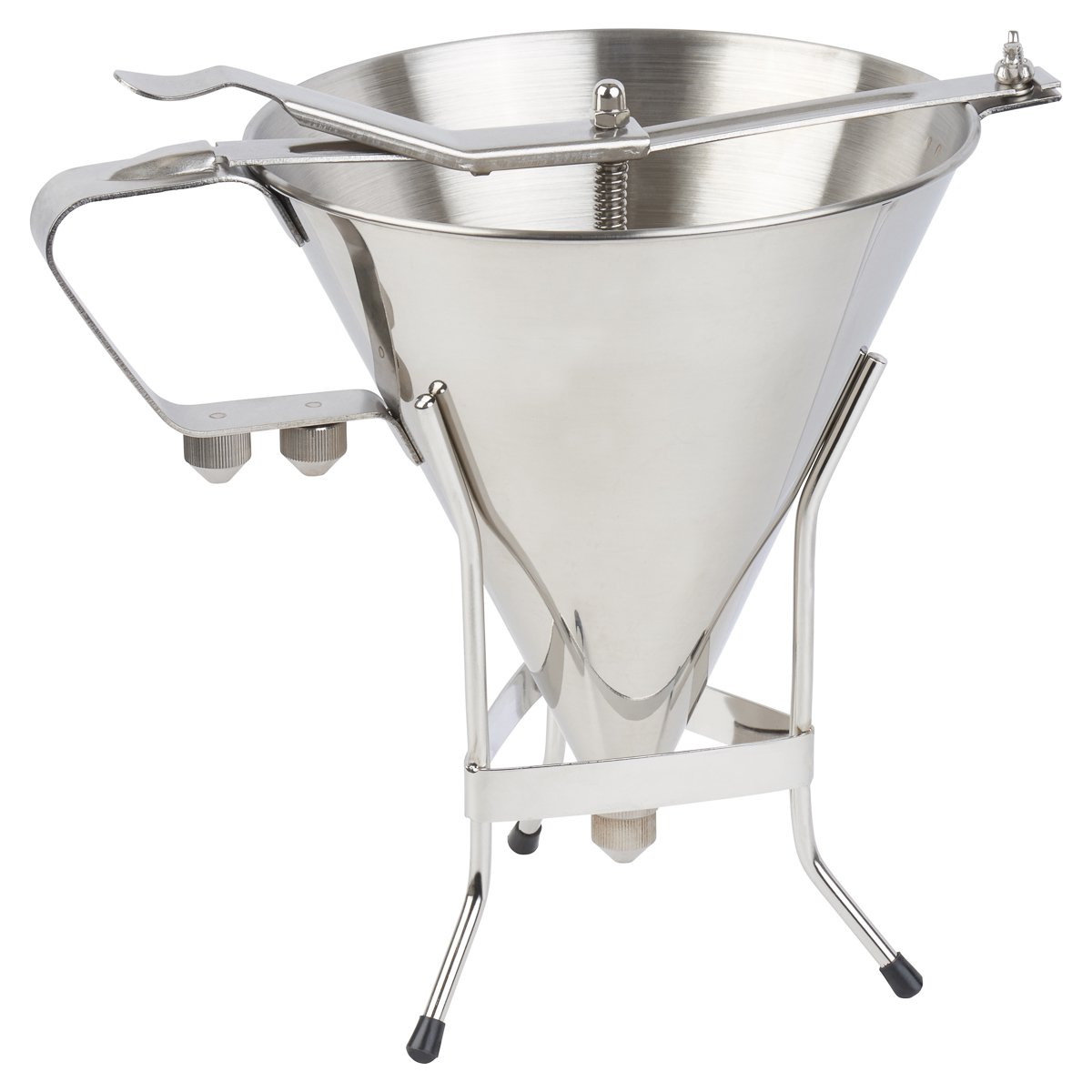 The #1 Professional Confectionery FUNNEL sturdy STAND with 3 NOZZLES Every chefs best friend- By The Kitchen Panda CF01 Premium commercial quality stainless steel 7-1//2 inch Diameter