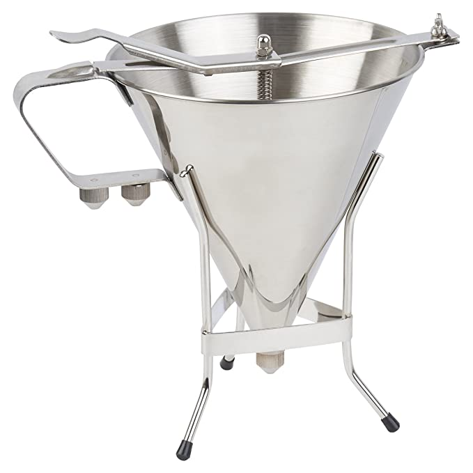The #1 Professional Confectionery FUNNEL + sturdy STAND with 3 NOZZLES -  Premium commercial quality stainless steel - 7-1/2 inch Diameter - Every