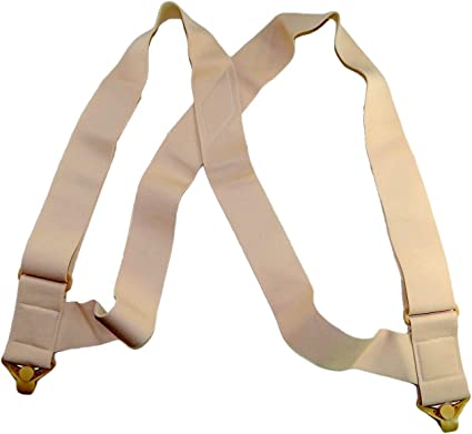 "Holdup Brand USA made 2/"" Wide Undergarment Hidden Beige Suspenders in X-back"