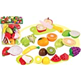 Toyshine Realistic Sliceable 15 Pcs Fruits Cutting Play Toy Set, Can Be Cut in 2 Parts