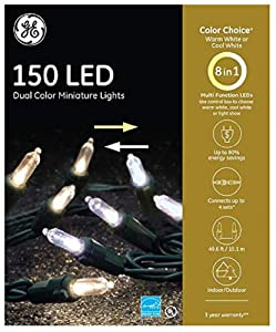 GE Color Choice 150-Count 49.6-ft Multi-Function Warm White Color Changing Mini LED Plug-in Christmas String Lights Energy Star 89201LO