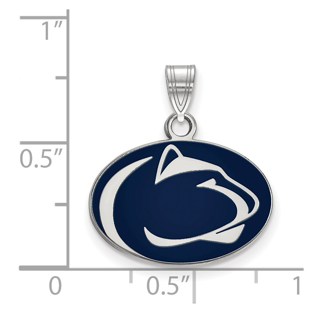 Solid 925 Sterling Silver Penn State University Small Enamel Pendant