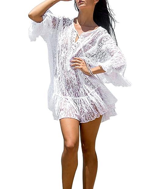 85df04c3b1762 Sanifer Women's Lace Crochet Sheer Boho Tunic Beach Cover Up Swimsuit Cover  Up for Bikini Bathing Suit Swimwear (White) at Amazon Women's Clothing store :